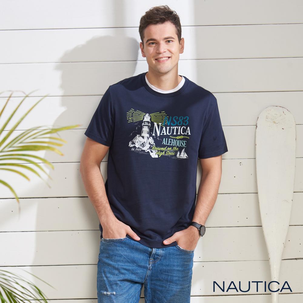 Nautica 夏日夜晚燈塔圖騰短袖T恤-深藍