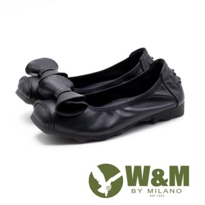 W&M 特色蝴蝶結 圓頭舒適低跟鞋 女鞋-黑(另有桃紅)