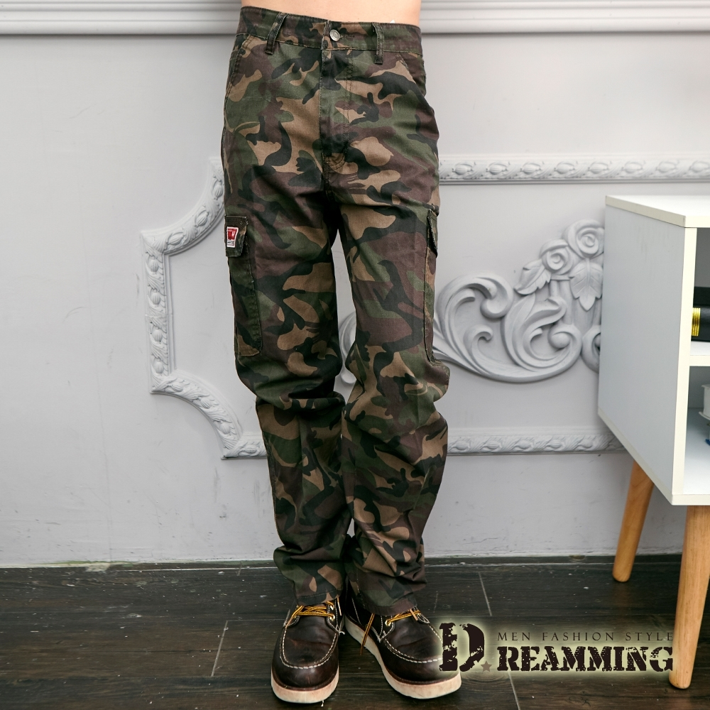 Dreamming 戰鬥迷彩機能伸縮休閒工作長褲-共三色 (褐綠)
