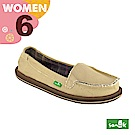 SANUK 女款US6 帆布素面內格紋娃娃鞋(卡其色)