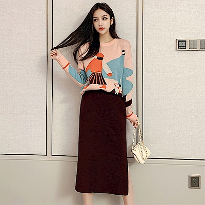 DABI 韓國風針織時尚高腰包臀套裝長袖裙裝