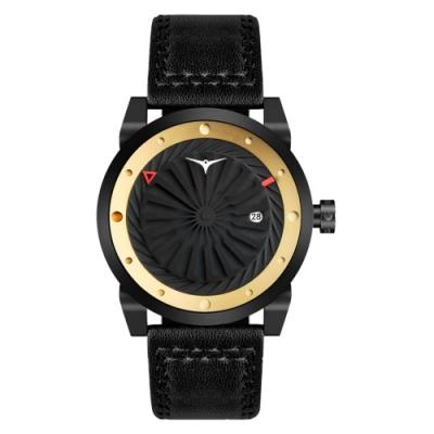 ZINVO 刀鋒戰士渦輪機械腕錶-黑X金(BNEMS)/44mm