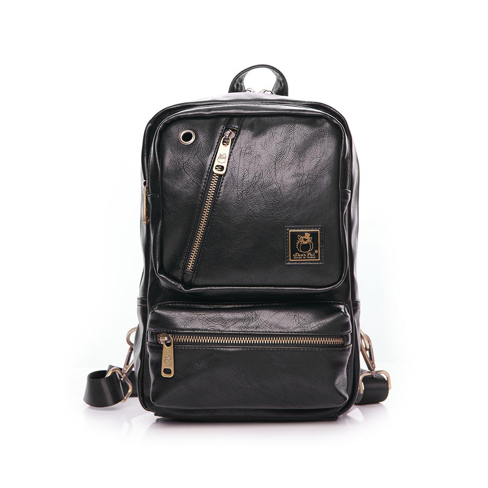 SharPei沙皮狗-城市漫遊x時尚多功能單肩包後背包-典藏黑