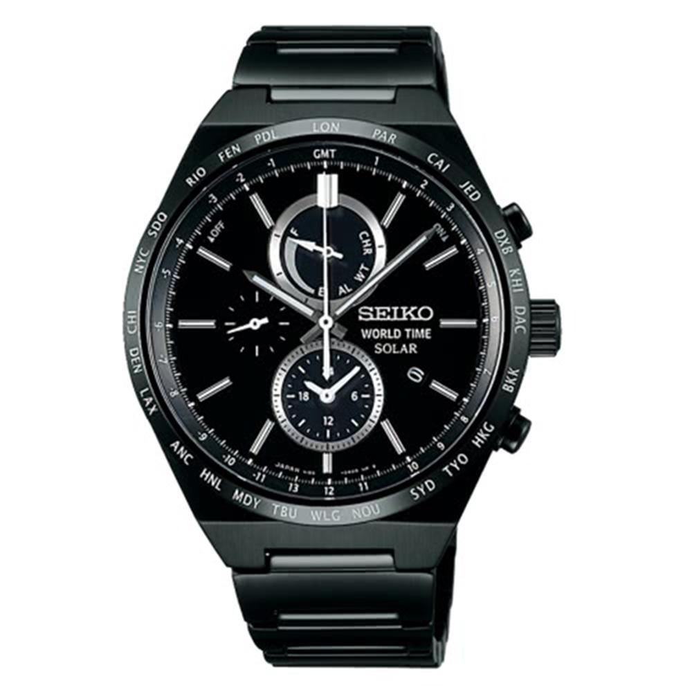 SEIKO精工SPIRIT簡約率性太陽能計時腕錶V195-0AE0SD/SBPJ037J