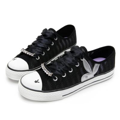 PLAYBOY浪漫縷空可拆鞋釦休閒鞋-黑-Y6202CC