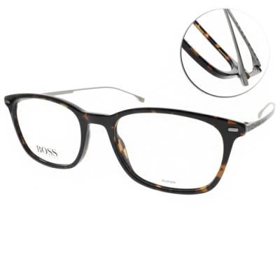 HUGO BOSS 光學眼鏡  鈦 LOGO膠框/深邃琥珀-霧槍 # HB1015 086