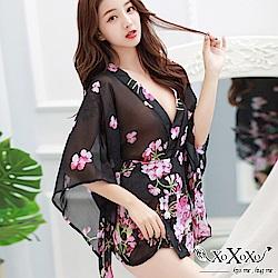 罩衫 櫻花飛舞日式和服浴衣 繁花黑 XOXOXO