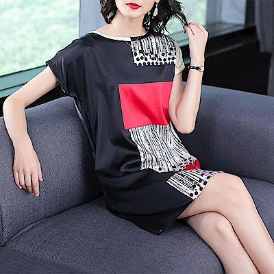 幾何設計仿真絲短袖洋裝L-4XL-REKO