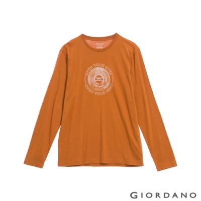 GIORDANO 男裝EXPLORE FUTURE印花長袖T恤- 22 皮革棕
