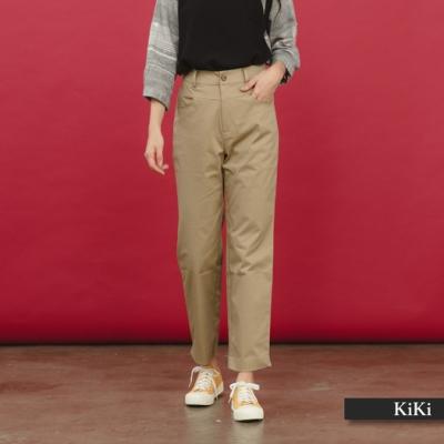 【KiKi】休閒鬆緊帶素色-長褲(深藍色)