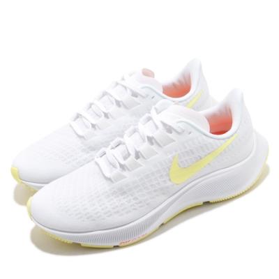 Nike 慢跑鞋 Zoom Pegasus 37 運動 女鞋 氣墊 舒適 避震 路跑 健身 球鞋 白 黃 BQ9647105