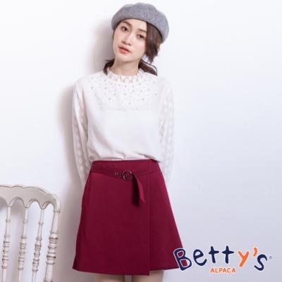 betty's貝蒂思 優雅後拉鍊腰間可調式褲裙(紅色)