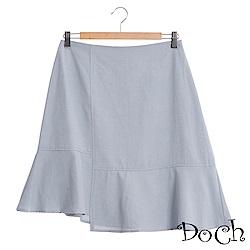 【Doch】單色拼接不對襯短裙(共兩色)