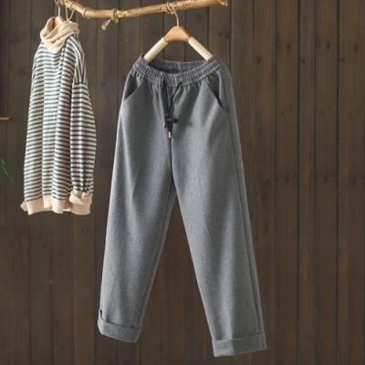 素色抽繩鬆緊腰毛呢寬鬆呢子九分褲-設計所在