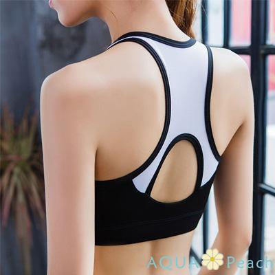 運動內衣 U型撞色拼接無鋼圈挖背內衣 (黑色)-AQUA Peach