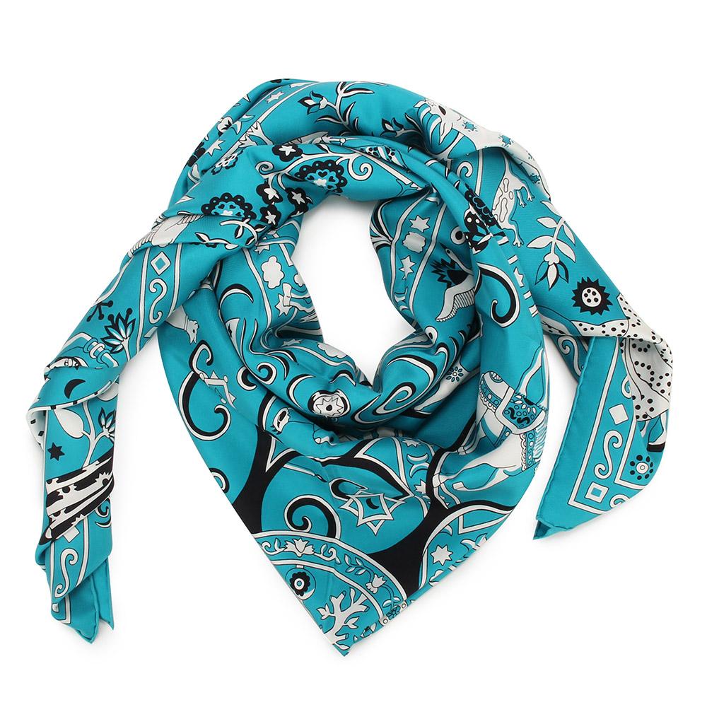 HERMES Peuple du Vent 真絲披肩方型大絲巾圍巾-碧藍色