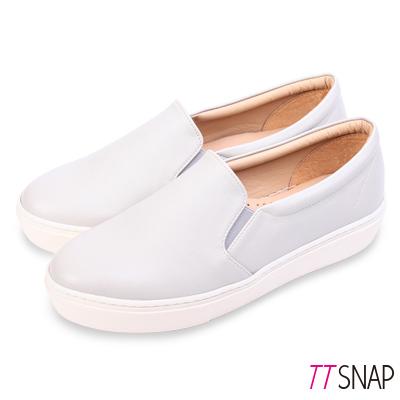 TTSNAP厚底樂福鞋-MIT微尖頭修長真皮休閒鞋 灰