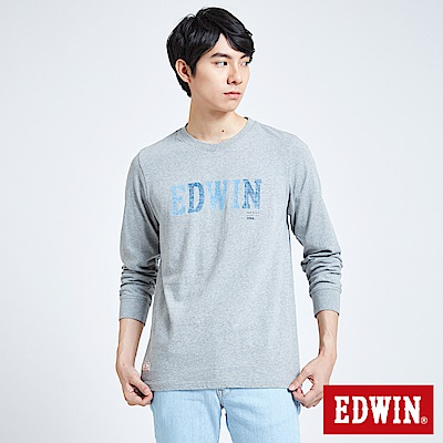 EDWIN 職人手作 牛仔印花LOGO長袖T恤-男-灰色