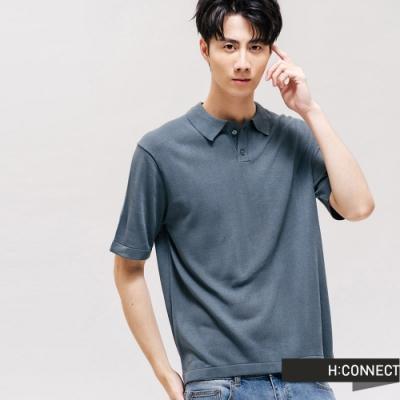 H:CONNECT 韓國品牌 男裝 -素色V領排扣針織POLO-綠