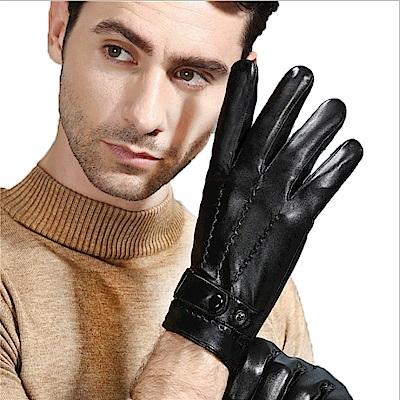 ego life小羊皮鈕扣縫線觸控男士保暖手套黑色 L/M款可選