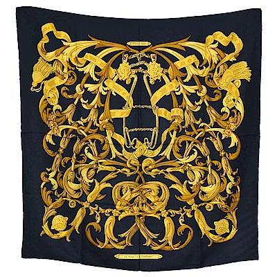 HERMES LE MORS A LA CONETABLE系列圖騰絲質方巾/披巾(黑X金)