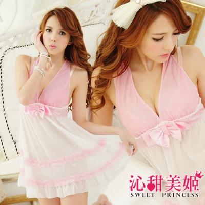 奢華網紗睡衣裙組 V領蝴蝶結美胸+雙層蕾絲裙擺 沁甜美姬(白)