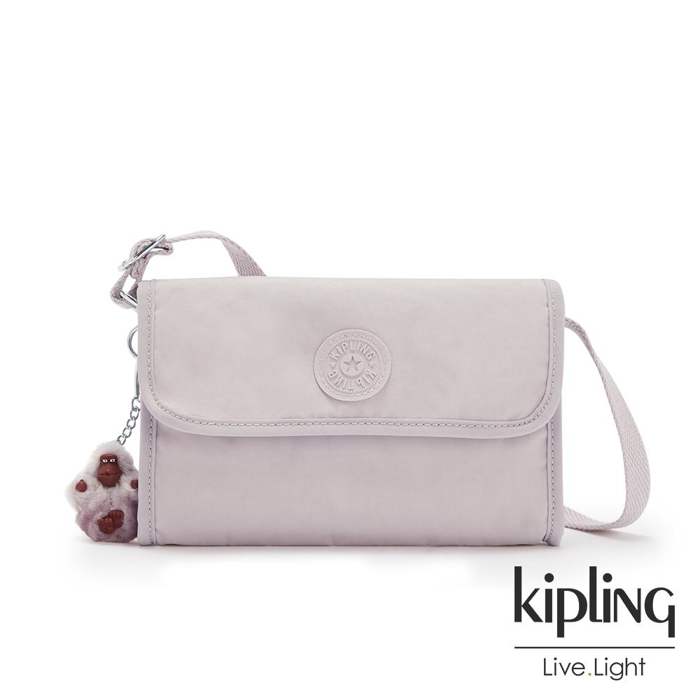 Kipling 優雅高級灰掀蓋拉鍊肩背包-BERRY