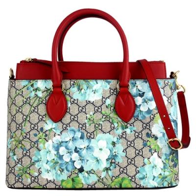 GUCCI BLOOMS 藍色花朵圖騰紅色飾邊防水帆布肩背/手提方包