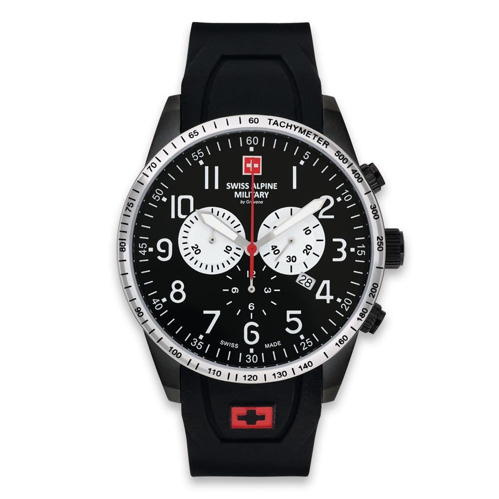 (福利品)瑞士阿爾卑斯錶S.A.M 狂蜂系列-大黃蜂/黑錶盤/橡膠錶帶/三眼計時/45mm(錶耳刮傷)