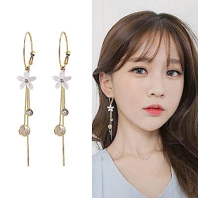 梨花HaNA 韓國S 925 銀針貓眼石黃金花卉耳環