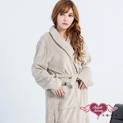 保暖睡袍 法式氣息 素色法蘭絨一件式綁帶睡衣(淺咖F) AngelHoney天使霓裳