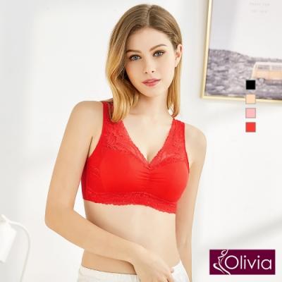 Olivia 無鋼圈大尺碼雙層拉提蕾絲舒適睡眠內衣-紅色