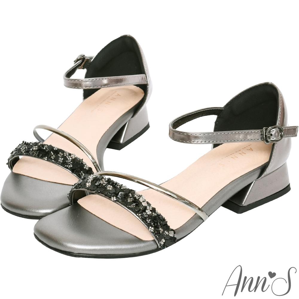 Ann'S對妳著迷鑽石糖版本-軟金屬V型顯瘦低跟方頭涼鞋-黑