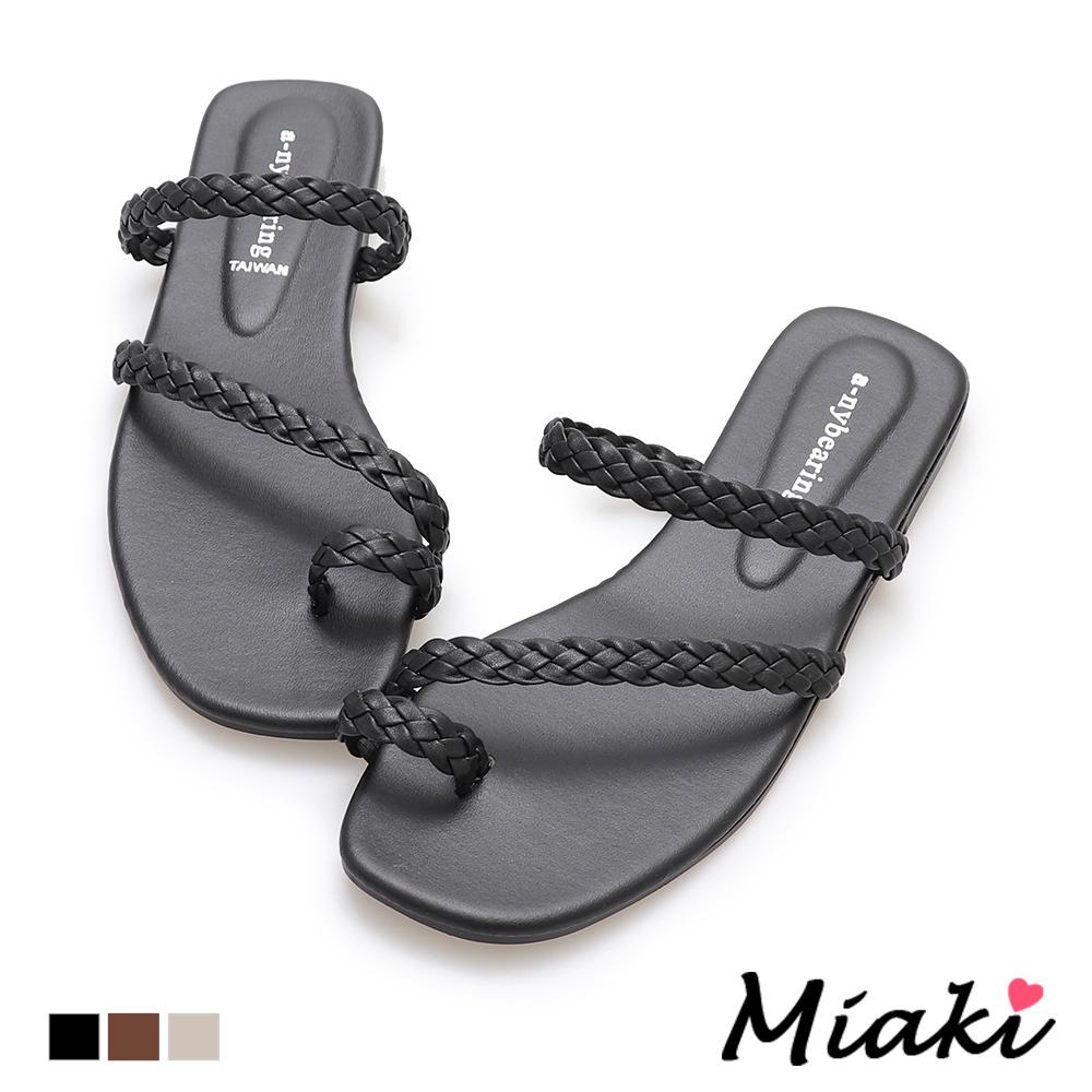 Miaki-涼鞋皮革編織平底夾腳拖鞋-黑