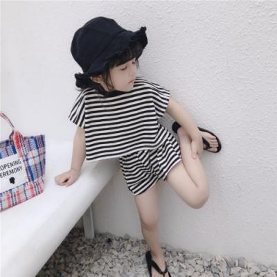 小衣衫童裝 兒童夏季黑白條紋短袖短褲套裝1090301