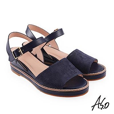 A.S.O 希臘渡假 全真皮質感楔型涼拖鞋深藍