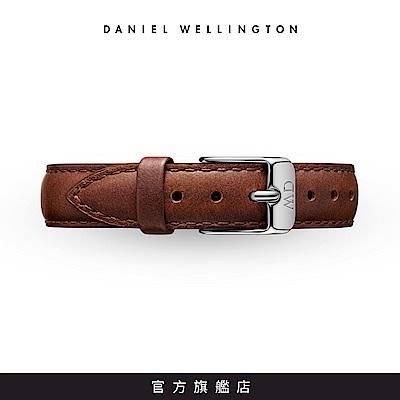DW 錶帶 14mm銀扣 紅棕真皮皮革錶帶