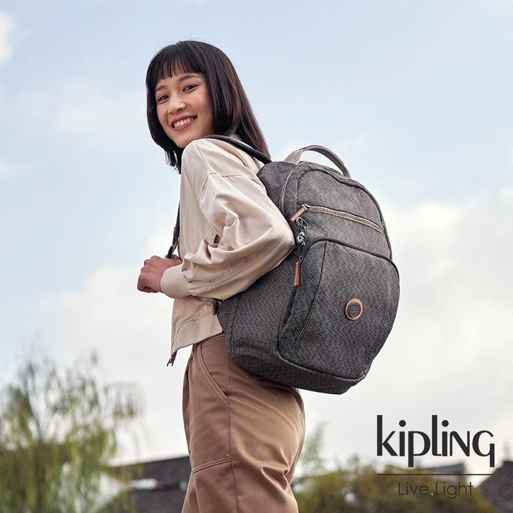 Kipling 編織松柏綠前後雙層收納後背包-TROY