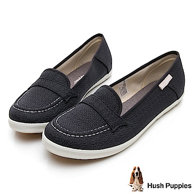 Hush Puppies COCO針織咖啡紗摩卡娃娃鞋-黑色