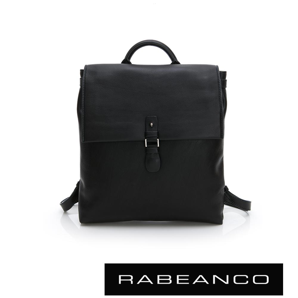 RABEANCO RIE系列軟牛皮方型後背包 鋼琴黑