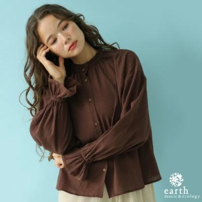 earth music 荷葉摺邊立領喇叭袖剪裁襯衫上衣
