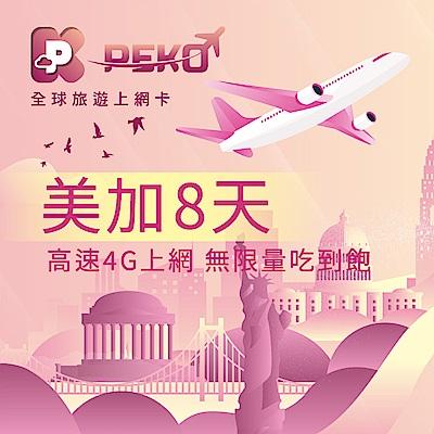 【PEKO】美加上網卡 美國 加拿大 網卡 sim卡 8日高速4G上網 無限量吃到飽