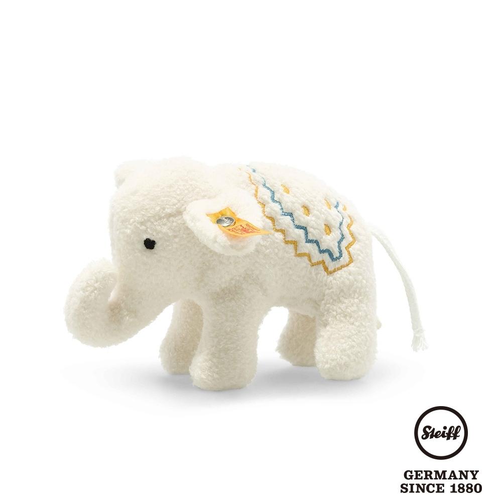 STEIFF德國金耳釦泰迪熊  雪白小象  Little elephant with rattle   (嬰幼兒手搖鈴)