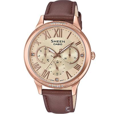 CASIO SHEEN  優雅迷人風采時尚腕錶(SHE-3058PGL-9A)36mm