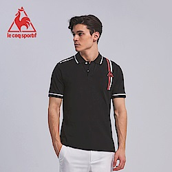 le coq sportif 法國公雞牌雙色線條印花短袖POLO衫 男-黑