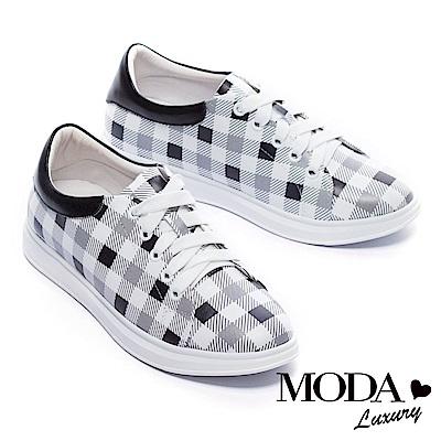 休閒鞋 MODA Luxury 經典格紋拼接全真皮厚底休閒鞋-黑 @ Y!購物