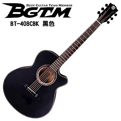 BGTM BT-408CBK AA級英格曼雲杉面板木吉他-平光黑