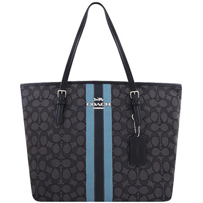 COACH 黑色大C織紋托特包-大型