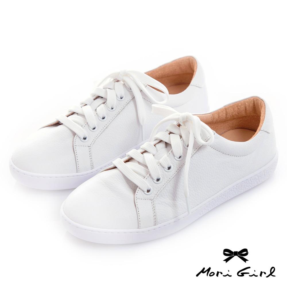 Mori girl百搭修飾款MIT台灣製全真皮小白鞋