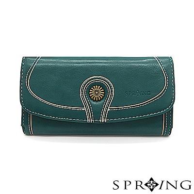 SPRING-日光系列-釦式長夾-湖水藍綠
